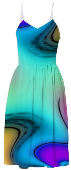 Aqua Passion Abstract Summer Dress