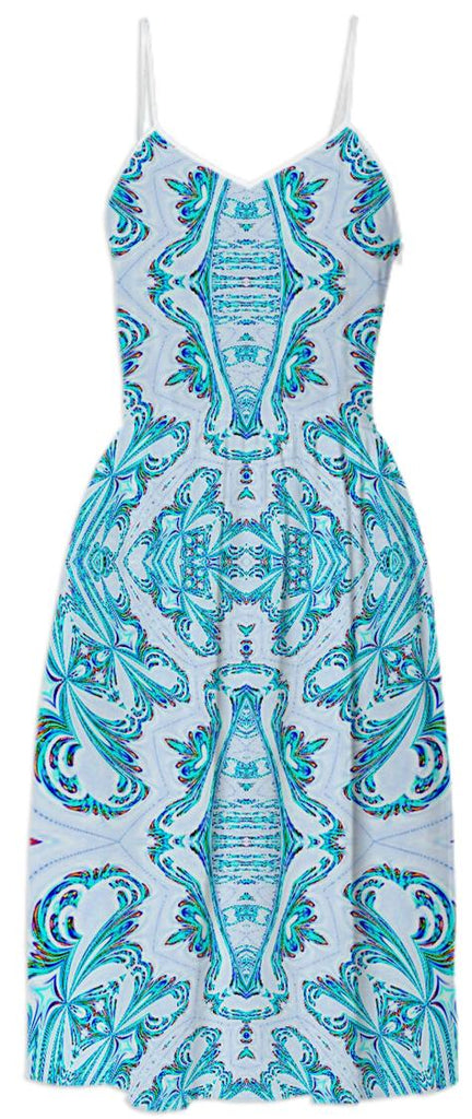 Aqua Pattern Summer Dress