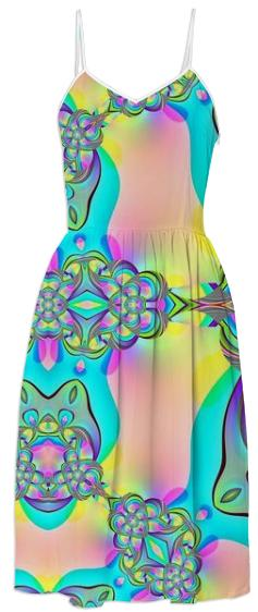 Aqua Pink Abstract Summer Dress