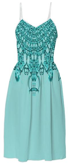 Aqua Teal Lace Summer Dress
