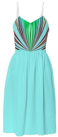 Aqua with Colorful Stripes Summer Dress