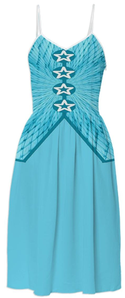 Aqua with mesh overlay Summer Dress