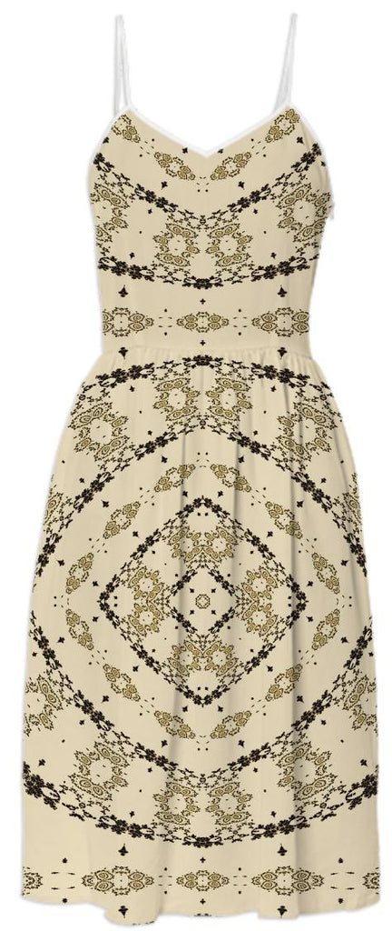 Beige Pattern Summer Dress