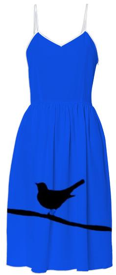 Bird on a Wire Blue Summer Dress