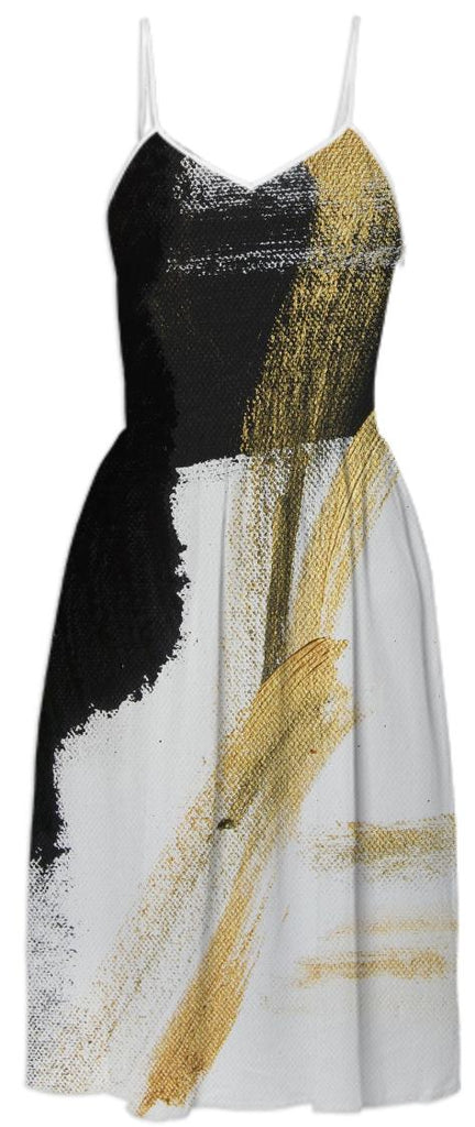 Black and Gold Abstract Art Fashion Dress