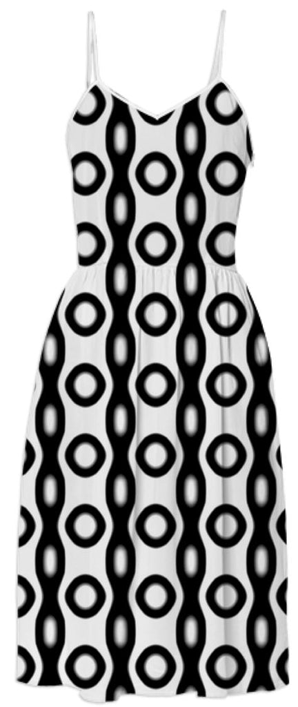 Black and White Circles and Chains Pattern Dress