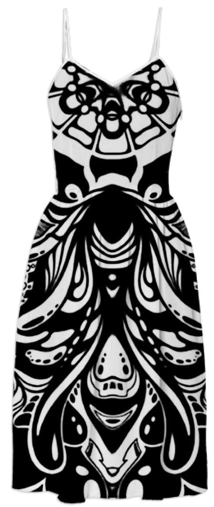 Black and White Psychedelic Swirls Dress