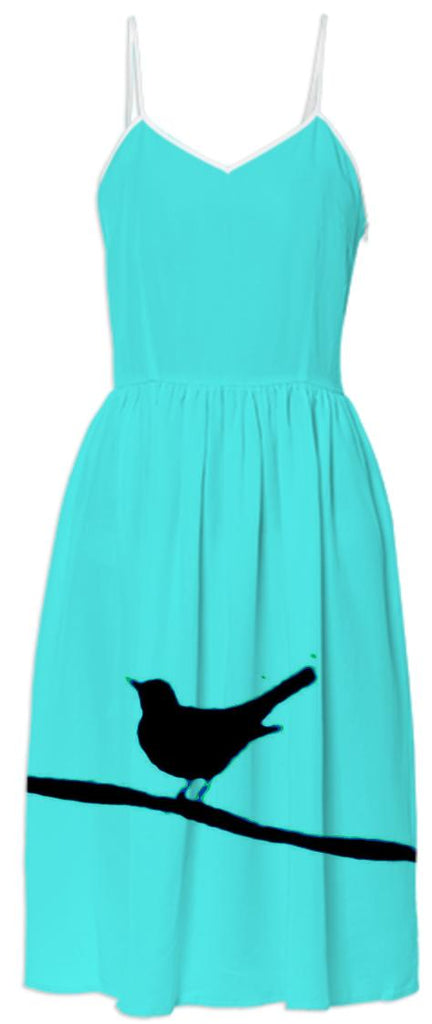 Black Bird on a Wire Turquoise Summer Dress