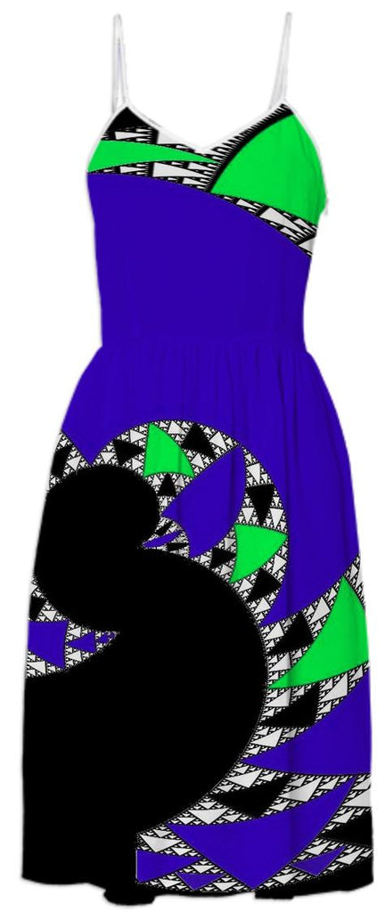 Black Blue Abstract Swirl Summer Dress
