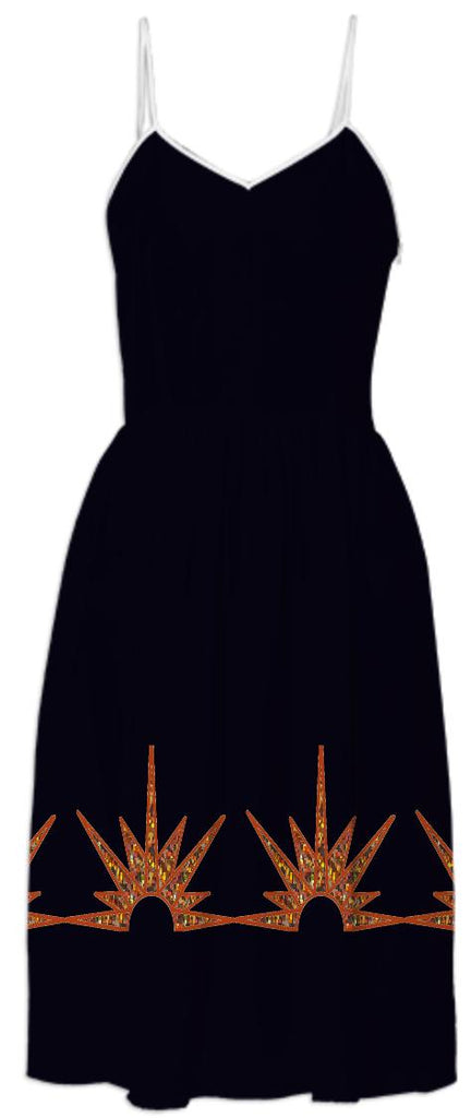 Black Summer Dress with Gold Suns