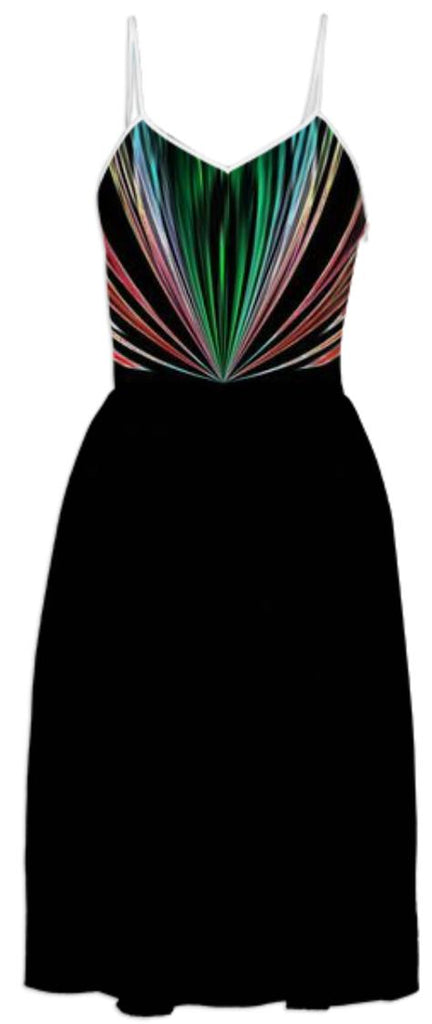 Black with Red and Green Stripes Summer Dress