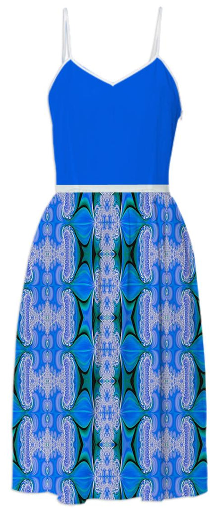Blue Abstract Pattern Summer Dress