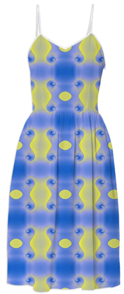 Blue and Yellow Spirals Print Dress