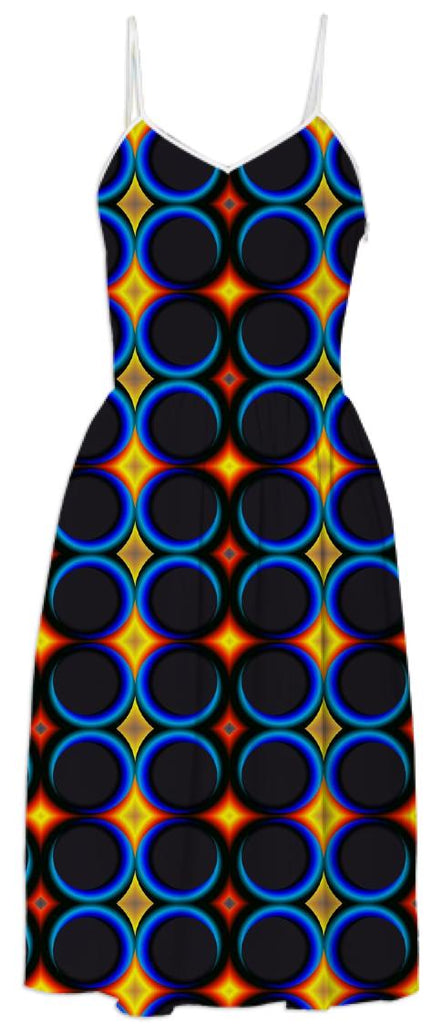 Blue Circles and Yellow Diamonds Dress