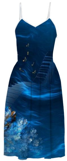 Blue Coral Melody SUMMER DRESS