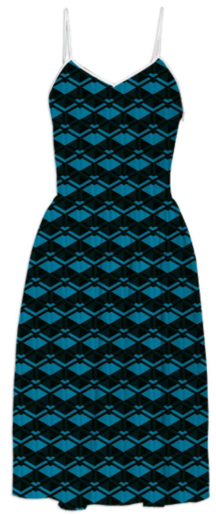 Blue Diamond Pattern Dress