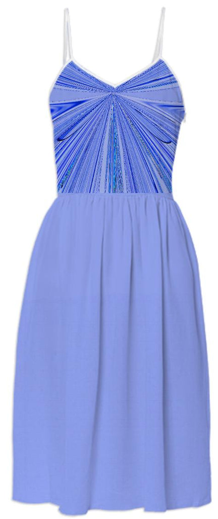 Blue Faux Shirred Summer Dress