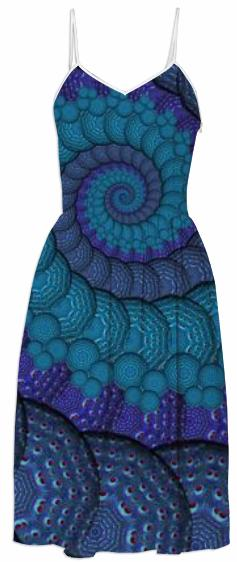 Blue Fractal Spiral Summer Dress
