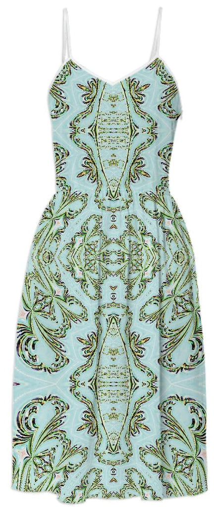 Blue Green Pattern Summer Dress
