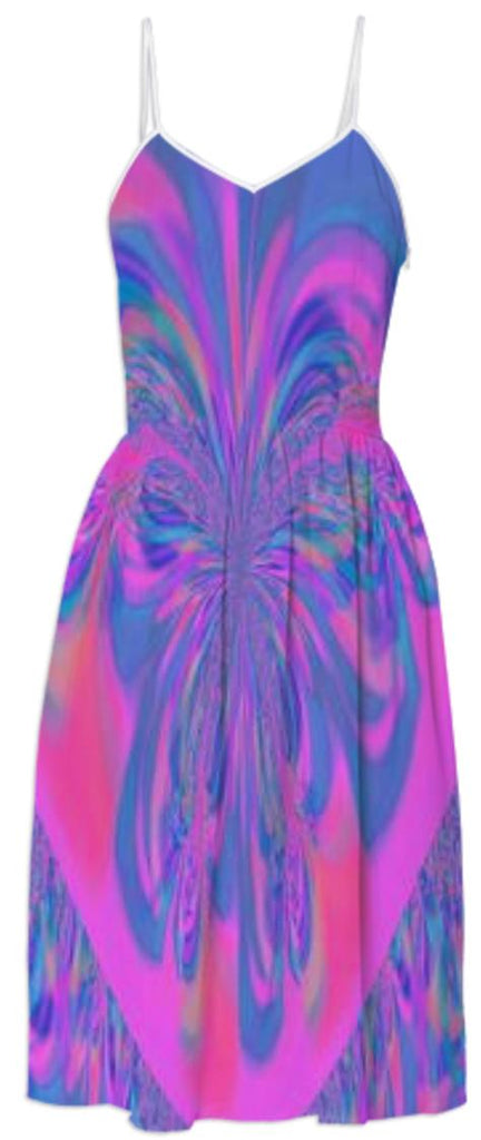 Blue Pink Abstract Summer Dress