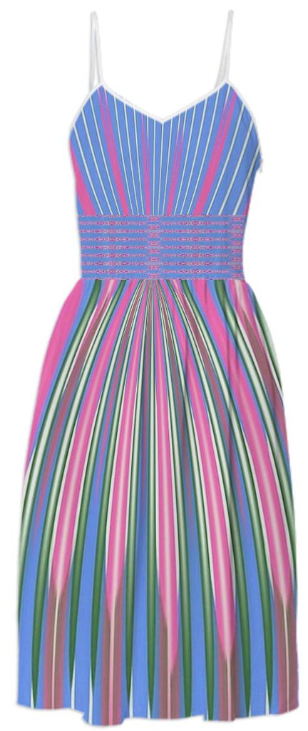 Blue Pink White Stripe Summer Dress
