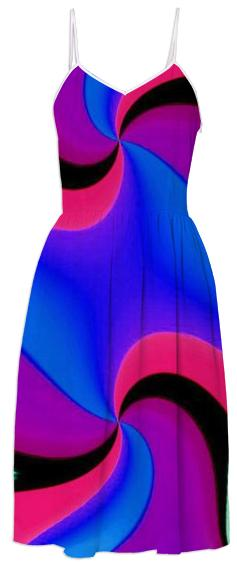 Blue Purple Red Black Double Swirl Summer Dress