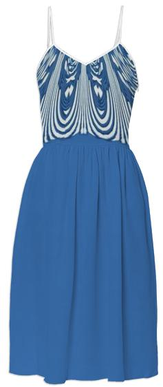 Blue Stripe Abstract Summer Dress