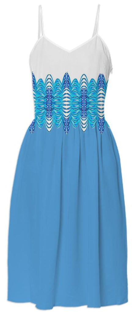 Blue White Belted Summer Dress