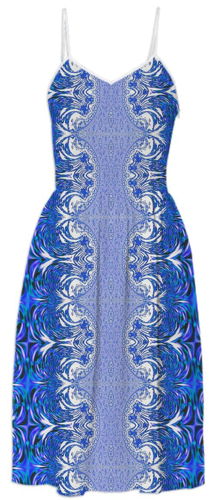 Blue White Fractal Lace Summer Dress