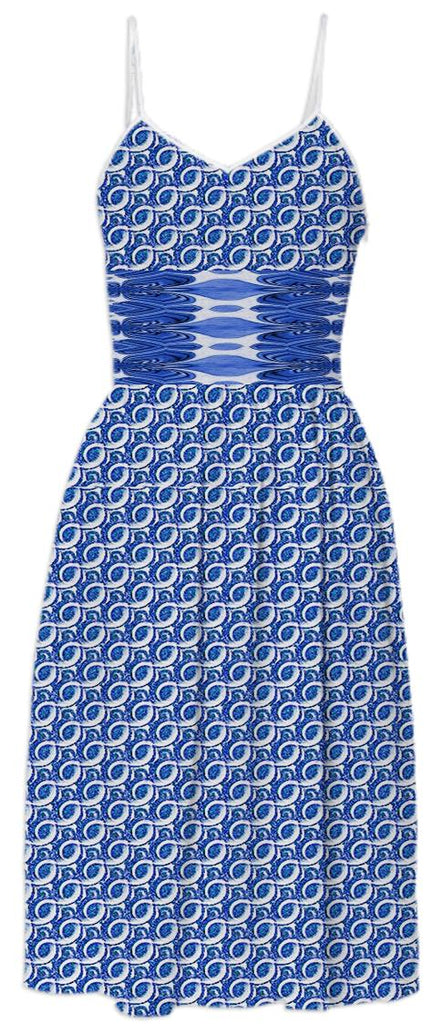 Blue White Pattern Summer Dress