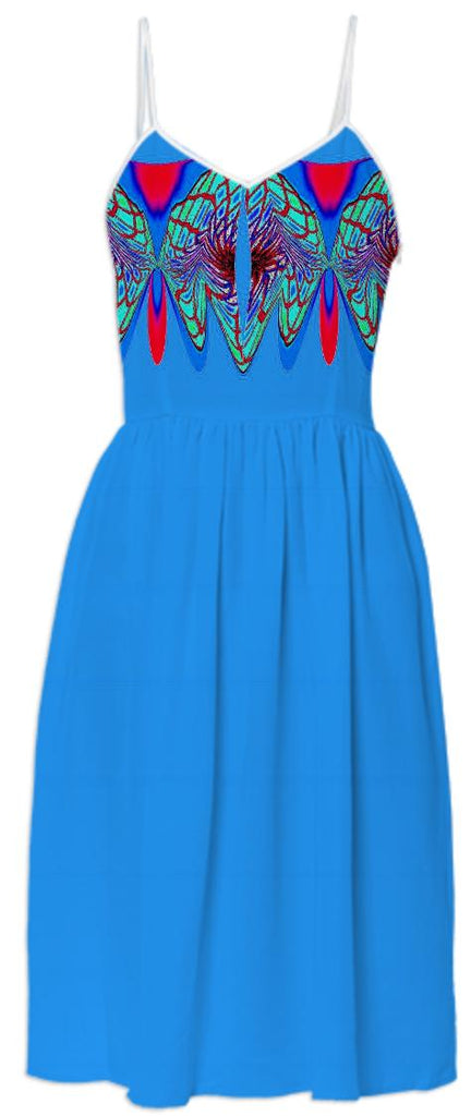 Blue with Aqua Wrap Summer Dress