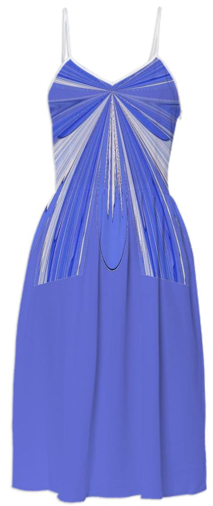 Blue with Faux Chiffon Tie Summer Dress
