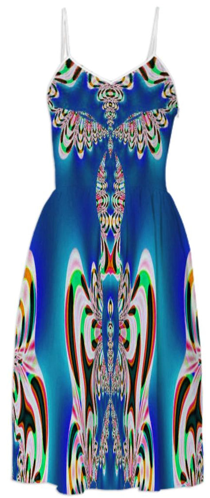 Bright Blue Abstract Summer Dress