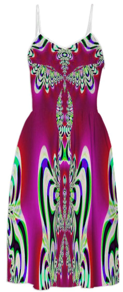 Bright Pink Abstract Summer Dress