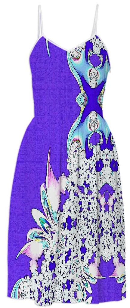 Bright Purple Feathers n Lace Summer Dress