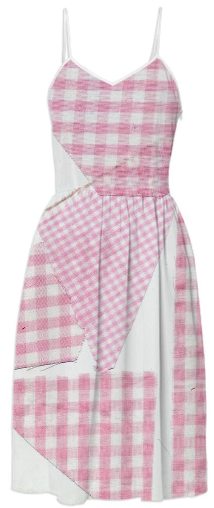 PAOM, Print All Over Me, digital print, design, fashion, style, collaboration, cheryl-donegan, cheryl donegan, Summer Dress, Summer-Dress, SummerDress, Broken, Gingham, Pink, spring summer, unisex, Poly, Dresses