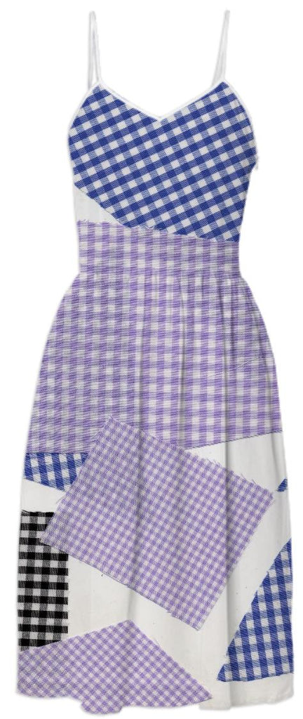 PAOM, Print All Over Me, digital print, design, fashion, style, collaboration, cheryl-donegan, cheryl donegan, Summer Dress, Summer-Dress, SummerDress, Broken, Gingham, Violet, Blue, Black, spring summer, unisex, Poly, Dresses