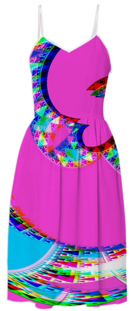 Colorful Pink Abstract Summer Dress