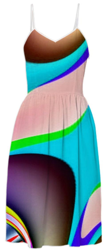 Colorful Teal Abstract Summer Dress