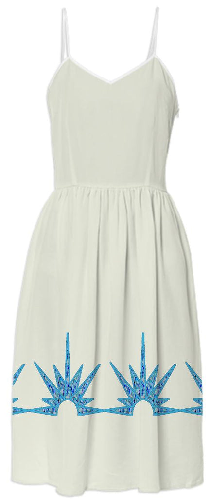 Cream Summer Dress with Blue Suns