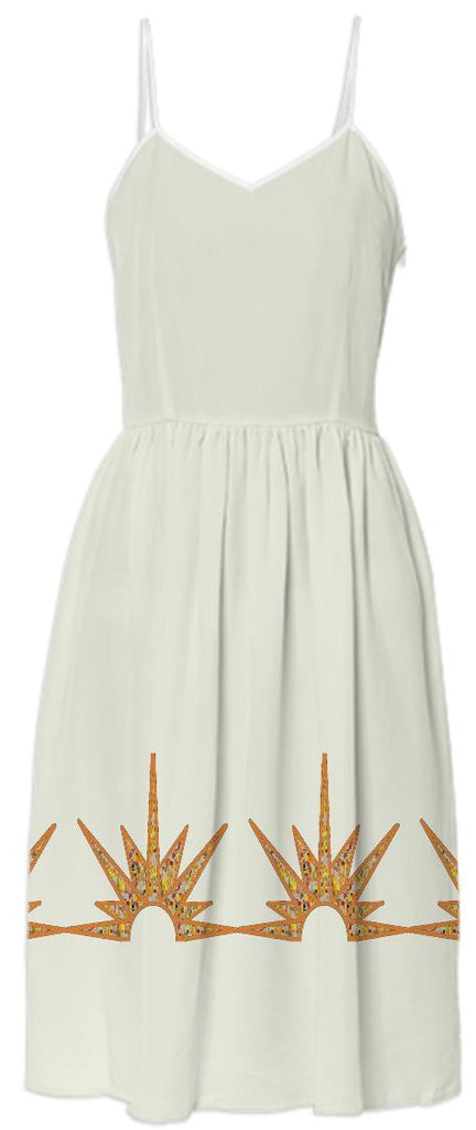 Cream Summer Dress with Gold Suns