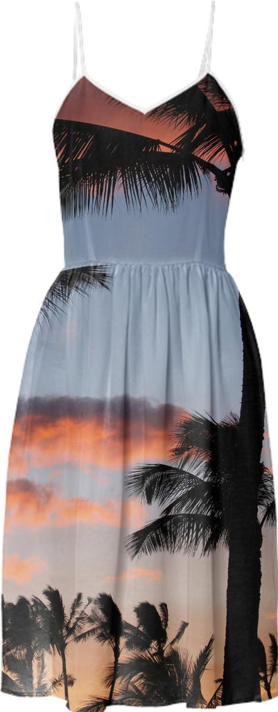 Dreamy palm trees tropical hipster summer sunset beach photo summer sun dress
