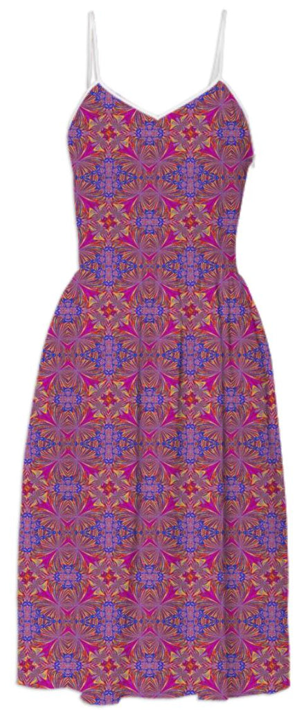 Dusty Rose Purple Pattern Summer Dress