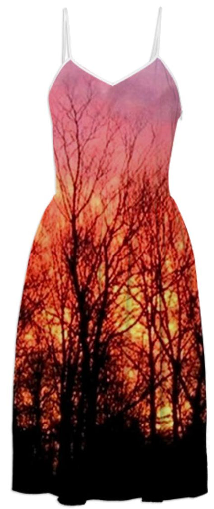 Fiery Sunrise Photo Summer Dress