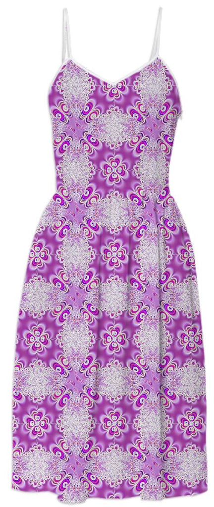 Fuchsia White Lace Summer Dress