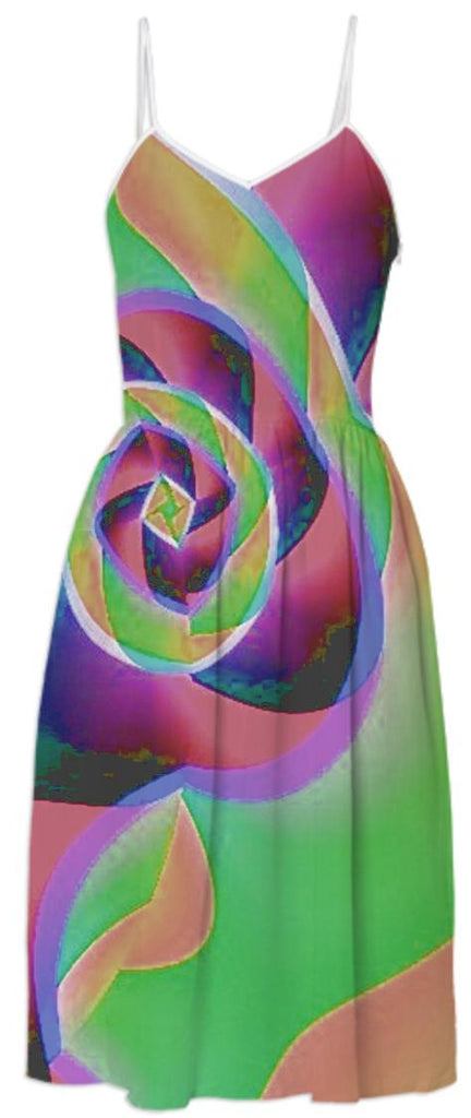 Gold Green Abstract Rose Summer Dress
