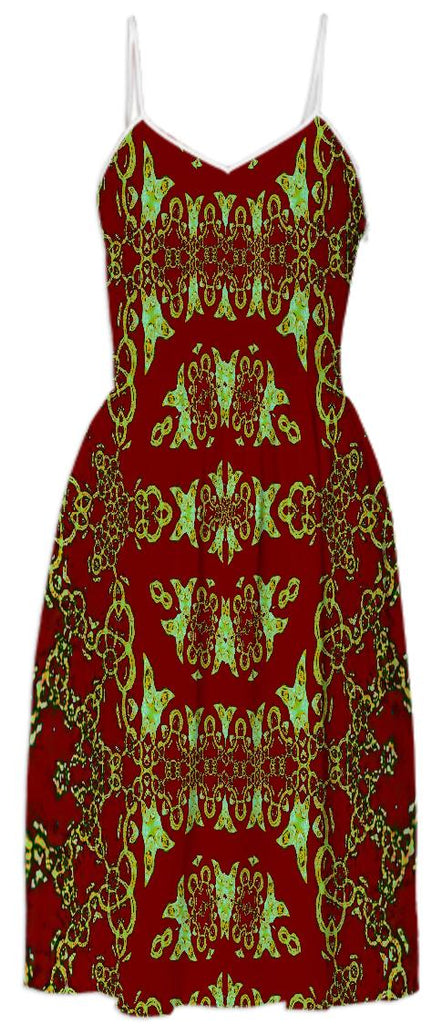 Gold Pattern over Red Summer Dress
