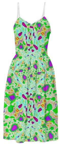 Green Aqua Abstract Summer Dress