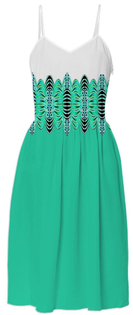 Green Black White Belted Summer Dress