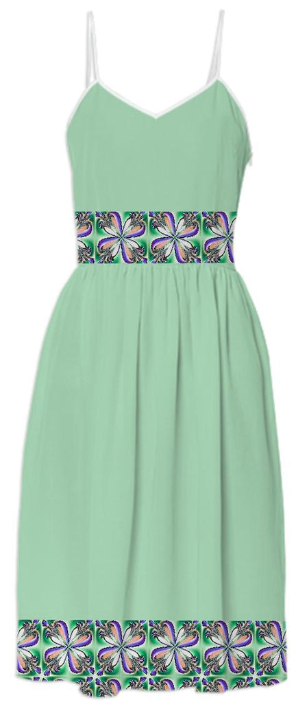 Green Dogwood Flowers Summer Dress